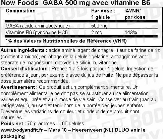 GABA Now Foods Nutritional Information 1