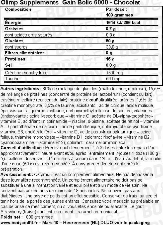 Gain Bolic 6000 Nutritional Information 1