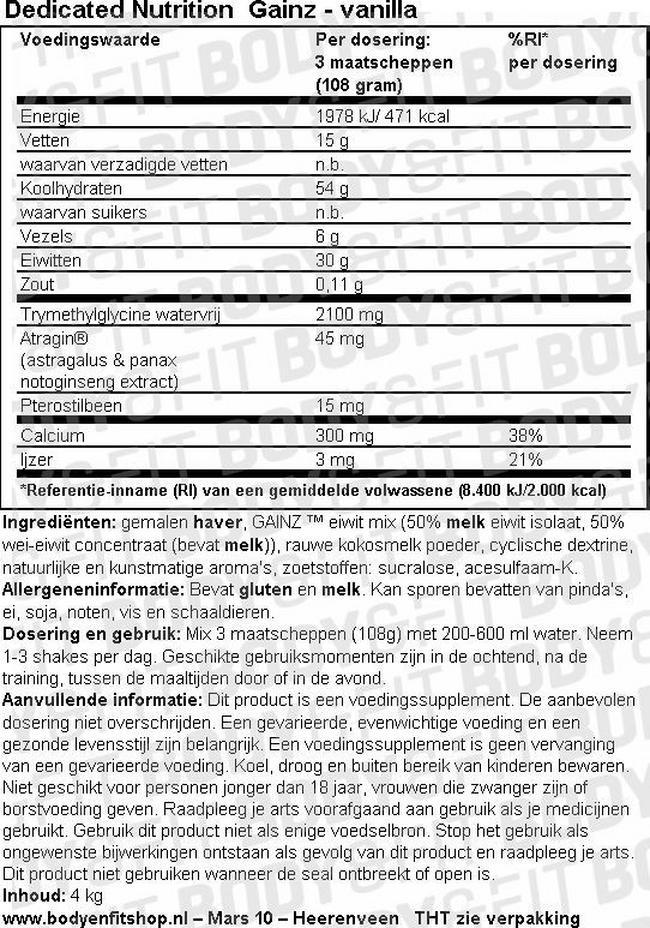 Gainz Nutritional Information 1