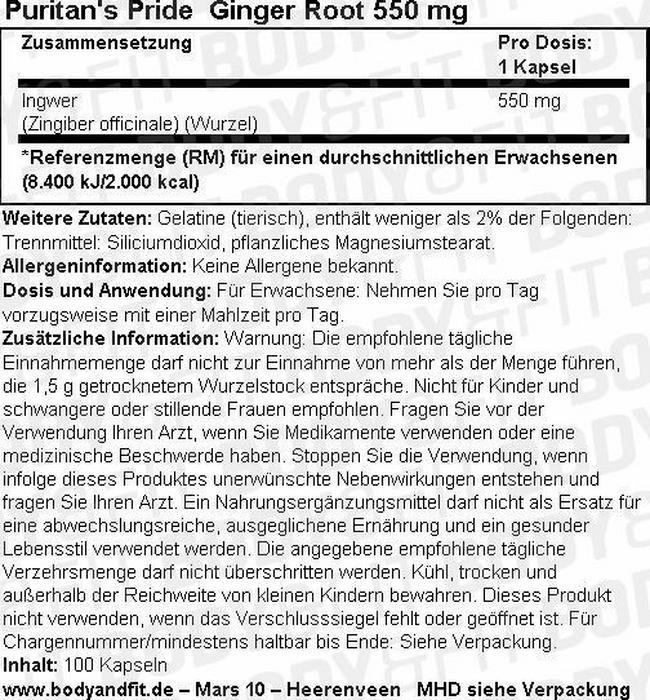 Ingwerwurzel 550 mg Nutritional Information 1