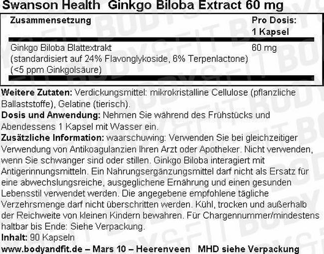 Ginkgo Biloba Extract 60mg Nutritional Information 1
