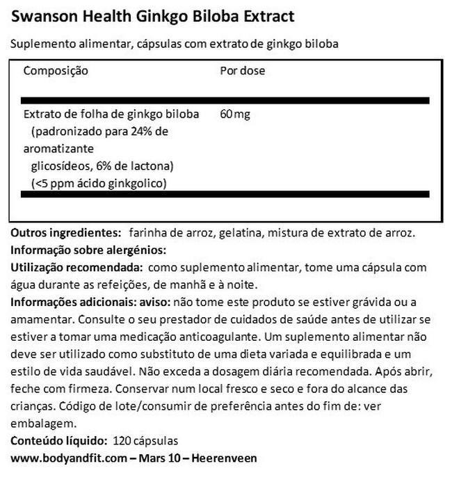 Ginkgo Biloba Extract Nutritional Information 1