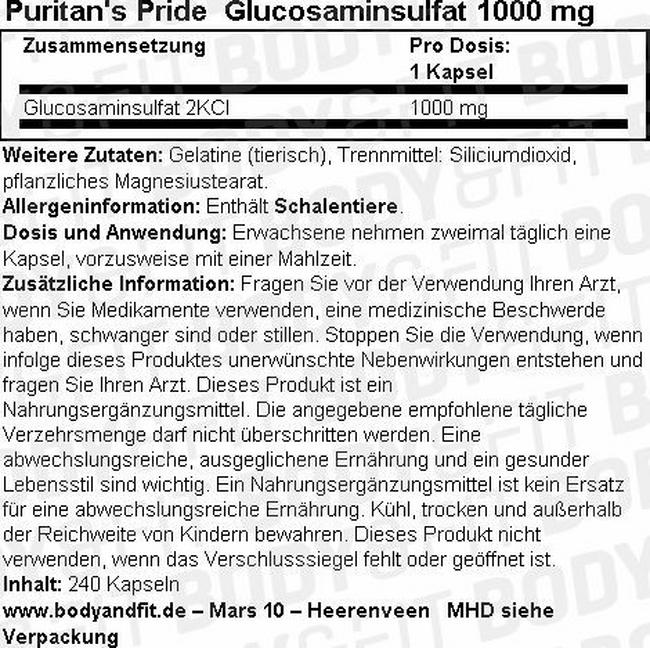 Glucosaminsulfat 1000mg Nutritional Information 1