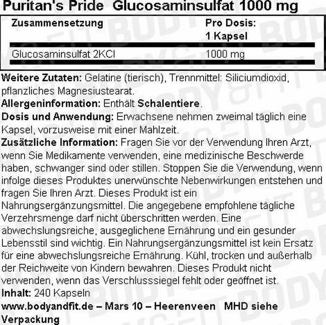 Glucosaminsulfat 1000mg Nutritional Information 1