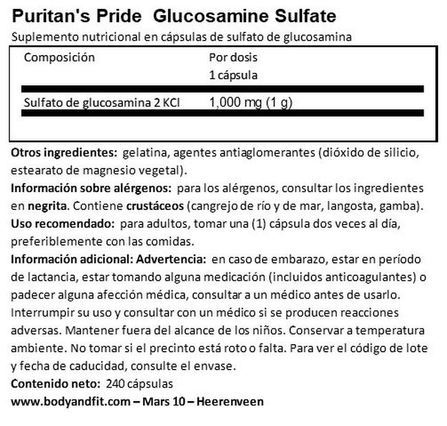 Glucosamine Sulphate capsules 1000 mg Nutritional Information 1
