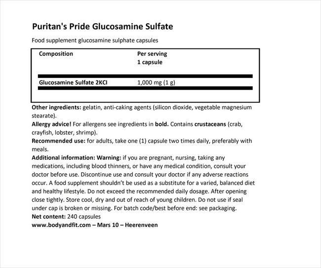 グルコサミン硫酸塩カプセル1000mg Nutritional Information 1