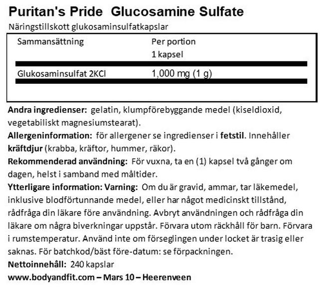 Glucosamine Sulphate Capsules 1000mg Nutritional Information 1