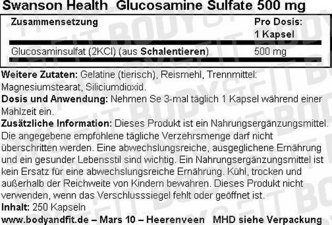 Glucosamin Sulfat 500mg Nutritional Information 1