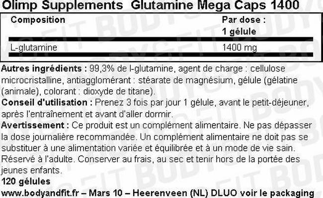 Gélules Glutamine Mega Caps 1400 Nutritional Information 1