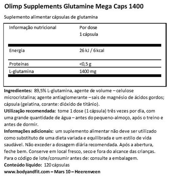 Glutamina Mega Caps 1400 Nutritional Information 1