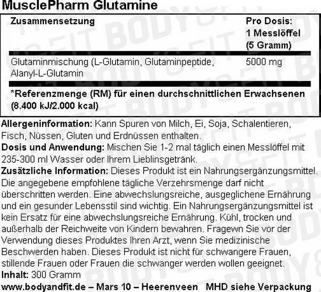 Glutamine Musclepharm Nutritional Information 2
