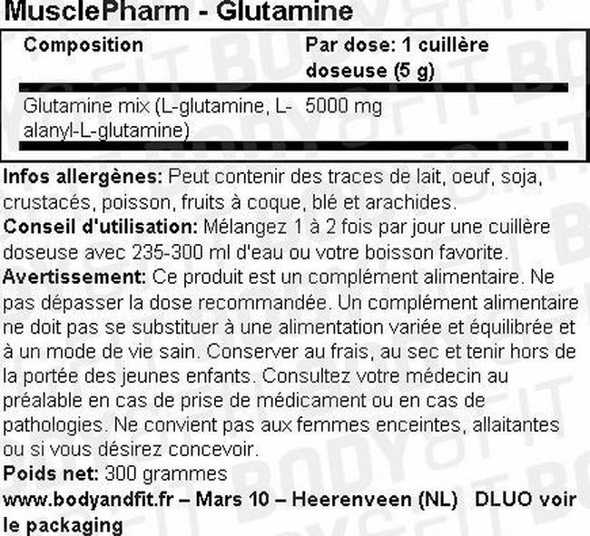 Glutamine Musclepharm Nutritional Information 1