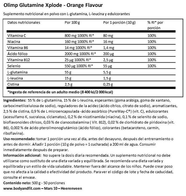 Glutamine Xplode Nutritional Information 1