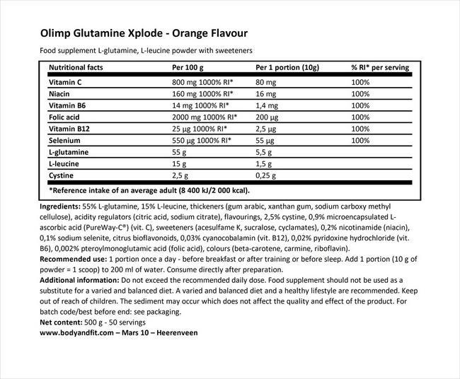グルタミン エックスプロード Nutritional Information 1