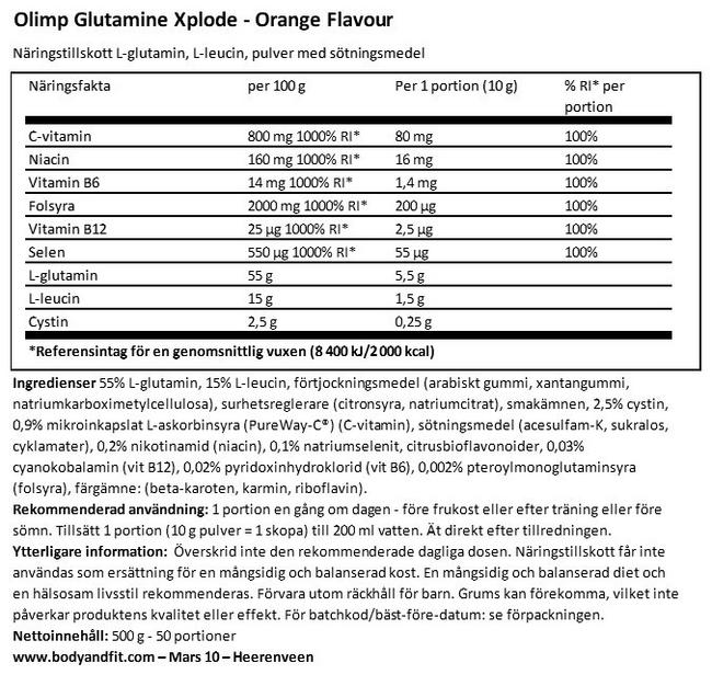 Glutamine Xplode Nutritional Information 1
