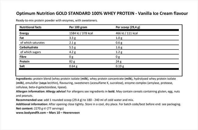 ゴールドスタンダード 100% ホエイ Nutritional Information 1