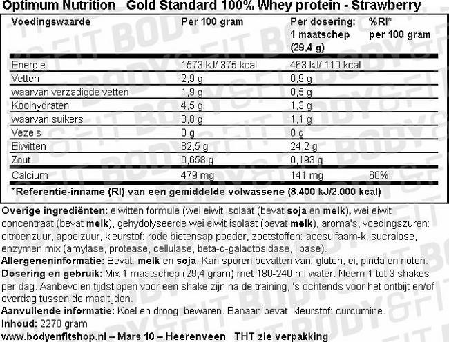 GOLD STANDARD 100% WHEY PROTEIN Nutritional Information 1