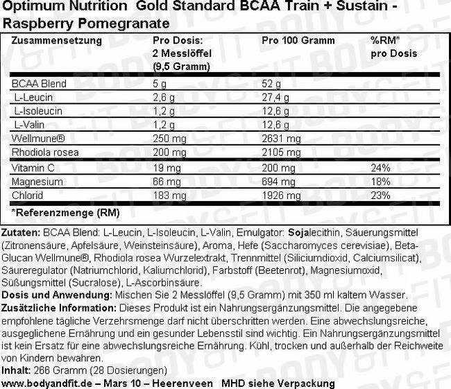 Gold Standard BCAA Nutritional Information 1