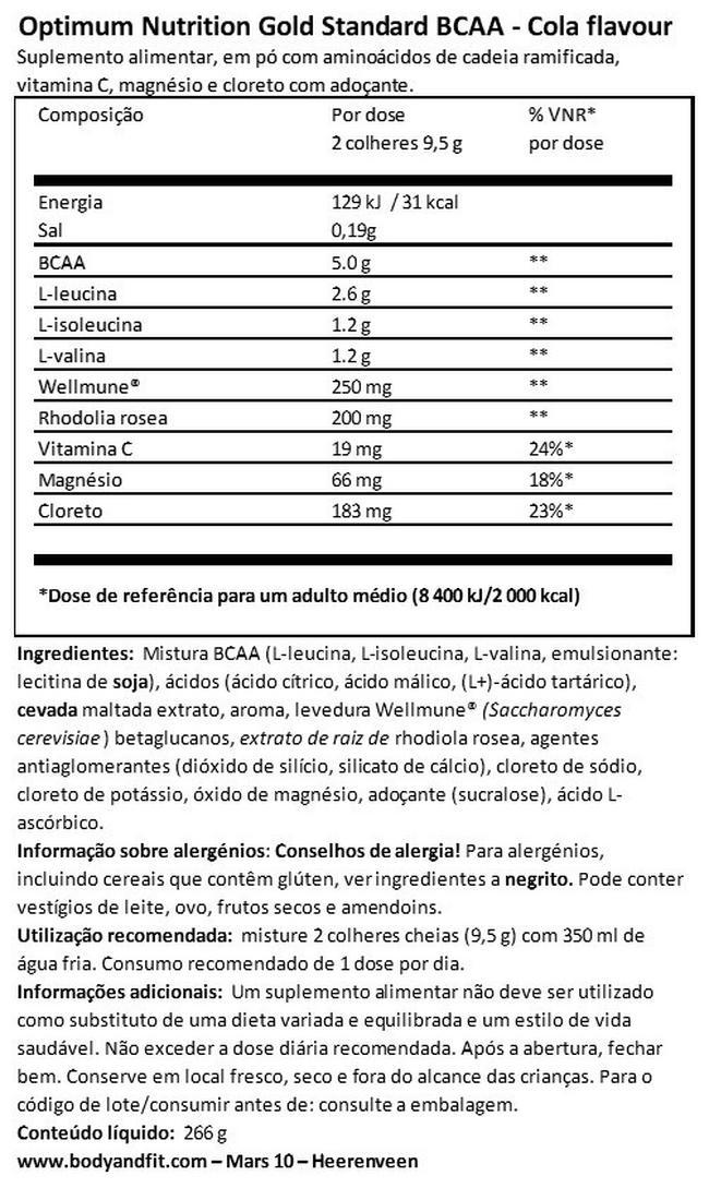 Gold Standard Treino + Manutenção Nutritional Information 1