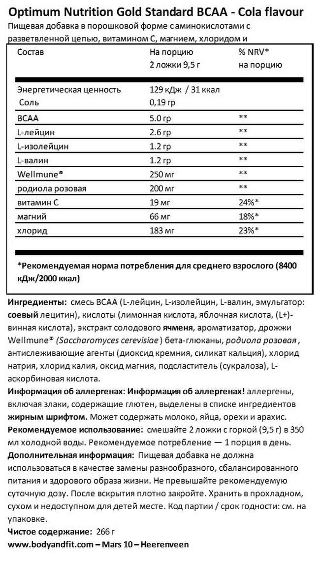 Gold Standard Train + Sustain Nutritional Information 1