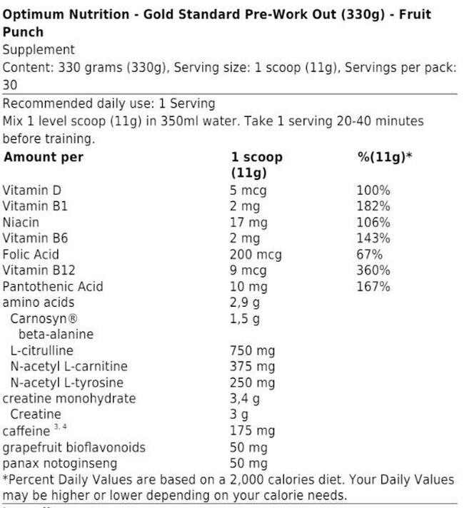 Gold Standard Pre-Workout Nutritional Information 4