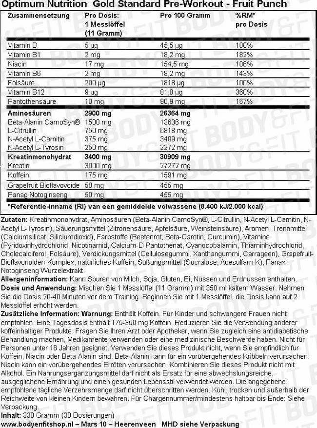 Gold Standard Pre-Workout Nutritional Information 1