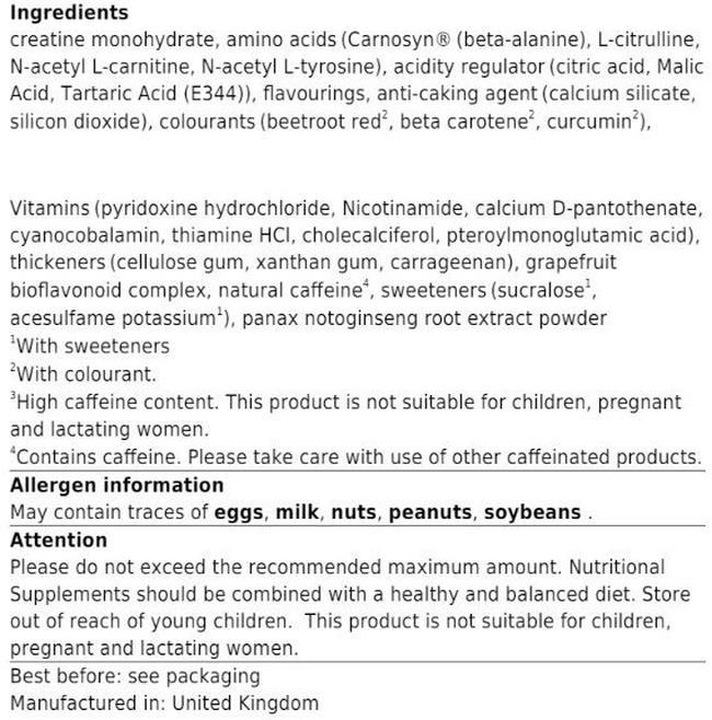 Gold Standard Pre-Workout Nutritional Information 2