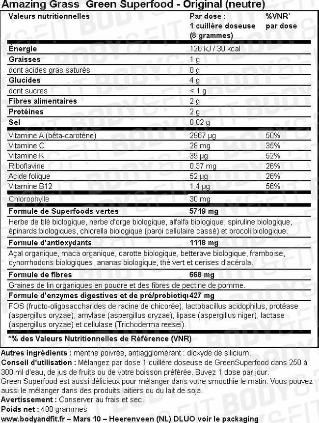 Poudre Green Superfood Nutritional Information 1