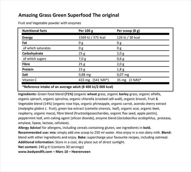 グリーン スーパーフード Nutritional Information 1