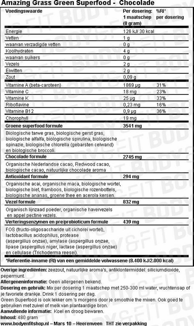 Green Superfood Nutritional Information 2