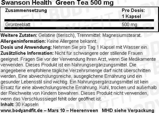 Green Tea 500 mg Nutritional Information 1