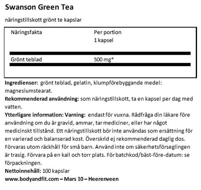 Green Tea 500 mg Nutritional Information 1