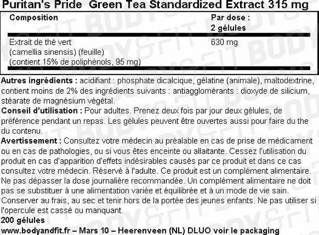 Extrait de thé vert normalisé Green Tea Standardized Extract 315mg Nutritional Information 1