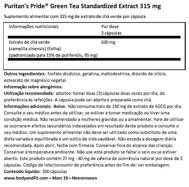 Green Tea Standardized Extract 315 mg Nutritional Information 1