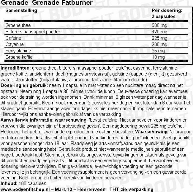 Grenade Fatburner Nutritional Information 1