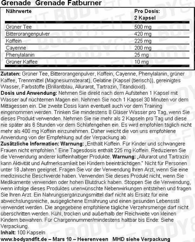Grenade Fatburner Nutritional Information 3