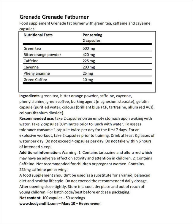 Grenade Fatburner Nutritional Information 5