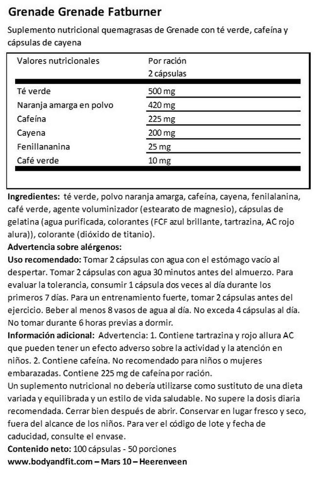 Grenade Thermo Detonator Nutritional Information 1