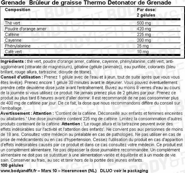 Brûleur de graisses Grenade Nutritional Information 1