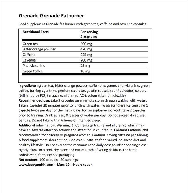 Grenade 써모 디토네이터 Nutritional Information 1