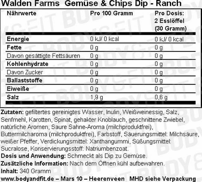 Veggie & Chip Dip Nutritional Information 2