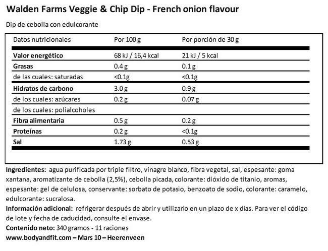Dip para verduras y papas fritas Nutritional Information 1