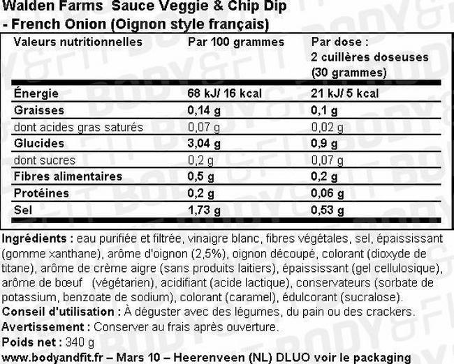 Sauce pour Légumes & Chips Veggie & Chip Dip Nutritional Information 1