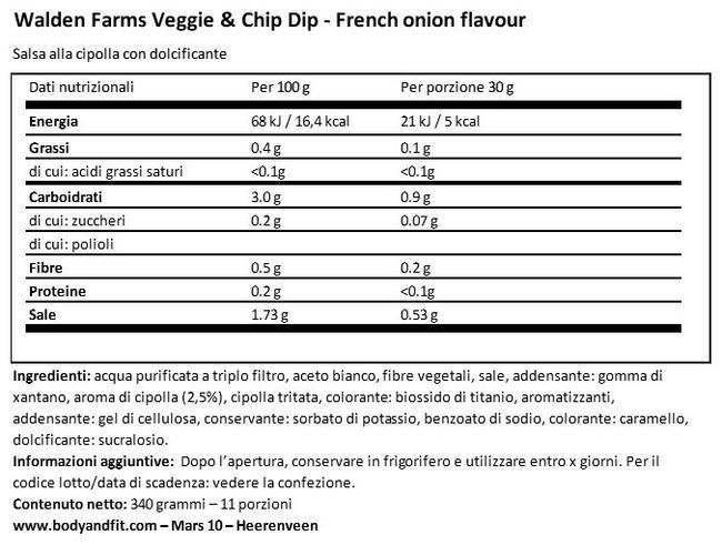 Veggie & Chip Dip Nutritional Information 1