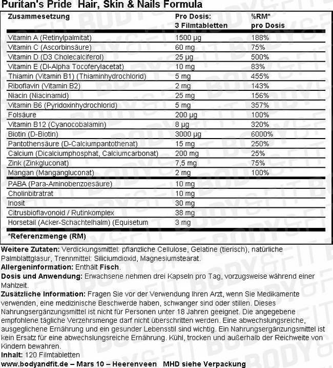 Hair, Skin & Nails Formula Nutritional Information 3