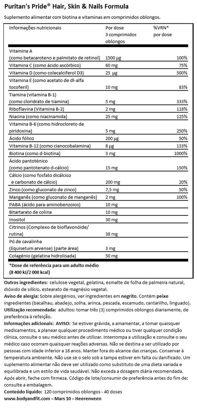 Hair, Skin & Nails Formula Nutritional Information 1