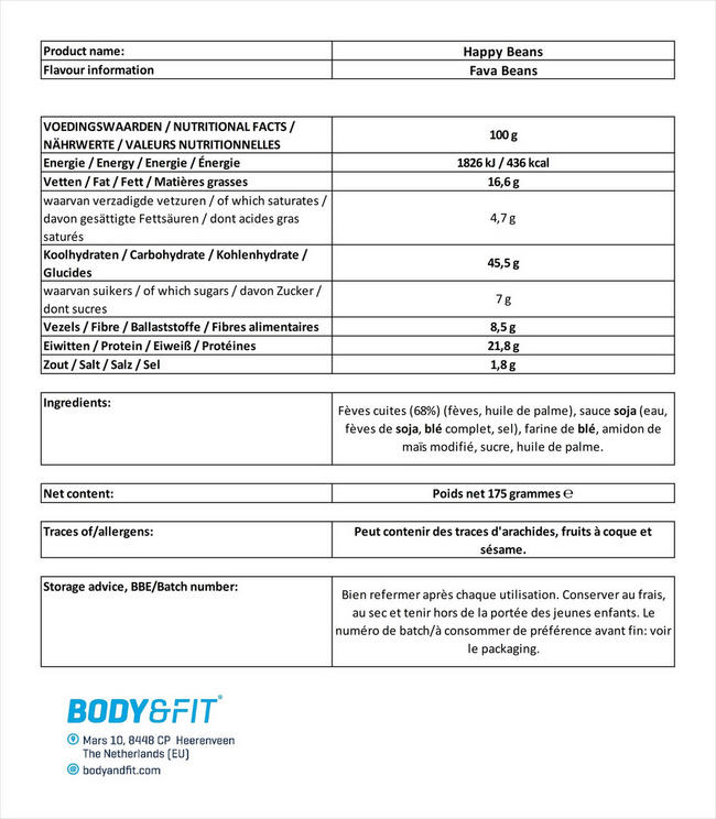 Happy Beans Nutritional Information 1