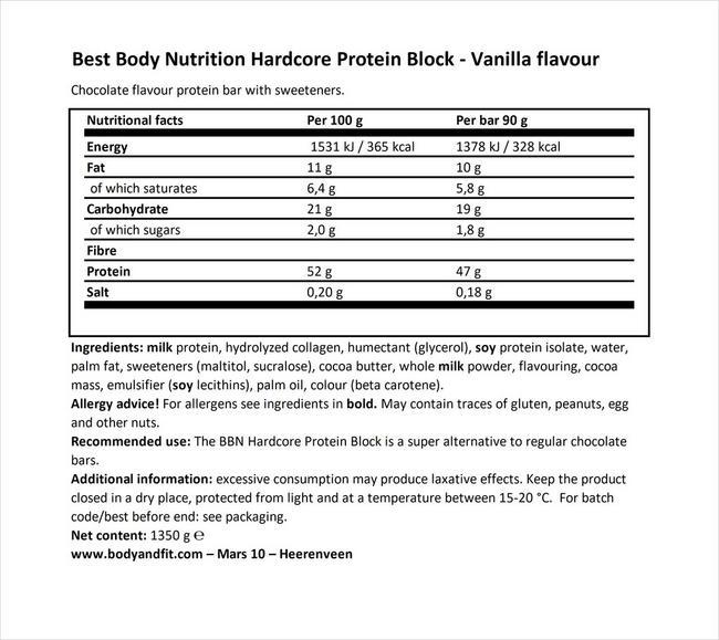 ハードコア プロテインブロック Nutritional Information 1