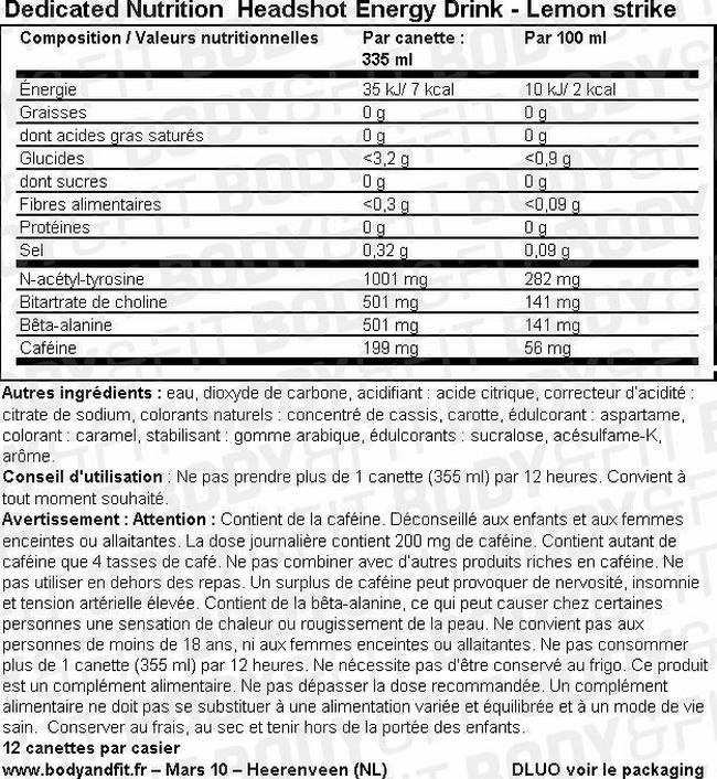 Headshot Energy Drink Nutritional Information 1