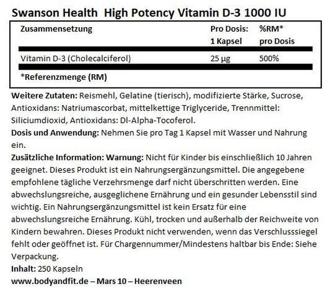 High Potency Vitamine D-3 1000IU Nutritional Information 1